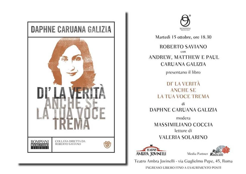 Roberto Saviano presenta il libro di Daphne Caruana Galizia zerkalo spettacolo